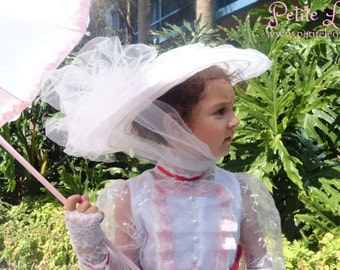 Mary Poppins COSTUME Hat White Jolly Holiday custom made jay white pink flowers Nanny