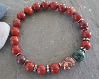 Red Jasper, Turquoise & Copper Buddha Meditation Bracelet - Yoga/Metaphysical/Spiritual Jewelry