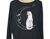 MOON CAT Womens raglan pullover American Apparel witch (sm med lg ) skip n whistle
