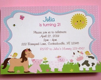 Barnyard Birthday Invitations Cow Pony Lamb and Pig Pink Farm Invitations