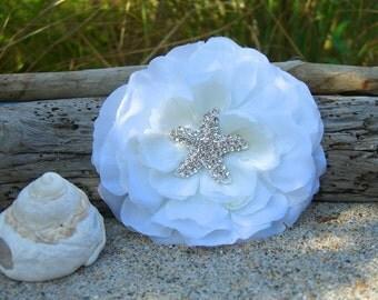 Beach Wedding Starfish Hair Flower-WHITE-Beach Weddings, Starfish Hair, Nautical Weddings, Mermaids, Vegan Friendly, Destination Wedding
