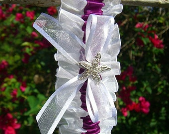 Starfish Beach Wedding Bridal Garter-MARSALA-Beach Wedding, Nautical Wedding, Starfish Garter, Destination Weddings, Bridal Accessories