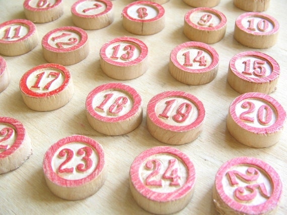 Advent Calendar Numbers 1 to 25 Vintage Bingo Markers