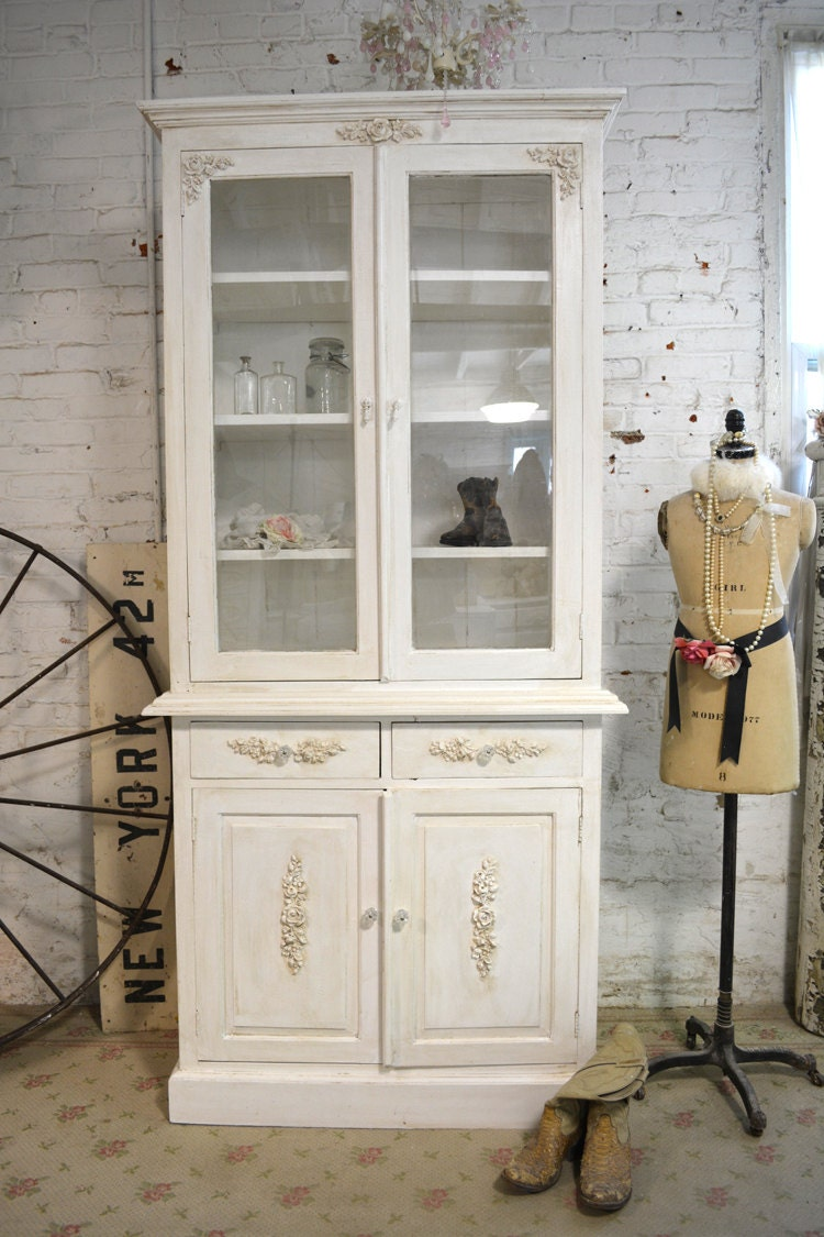 Painted cottage chic shabby farmhouse cabinet by for Shabby chic farmhouse