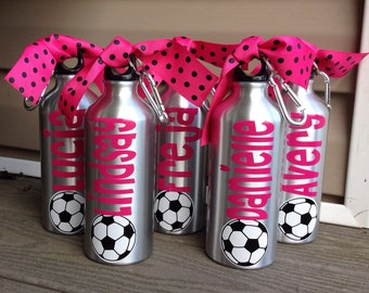 Lot Of 20 aluminum Water Bottles- Soccer, Baseball,  Basketball, Football, Cheer, Dance, Softball, CTeam Colors   Any Sport Can Be Done