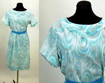 1950s dress, watercolor dress, marbelized, aqua blue, swirl dress, wiggle dress, Size M/L