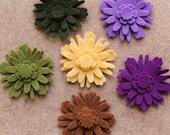 Highland Heather - Dahlias - 48 Die Cut Felt Flowers