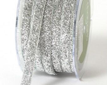 Metallic Velvet Glitter Ribbon - Silver - 3/8 inch  - You Choose Yards