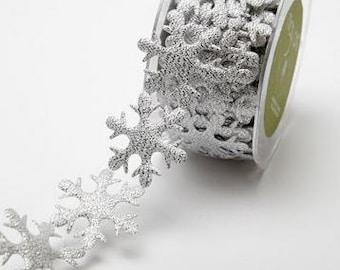 Jumbo Snowflake Ribbon - Silver - 1.5 inch  - You Choose Yards