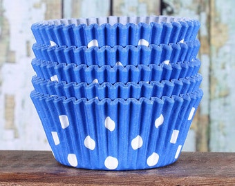 Blue Polka Dot Cupcake Liners, Blue Cupcake Wrappers, Cupcake Cases, Stay Bright Greaseproof Cupcake Liners, Blue Polka Dot Baking Cups (50)