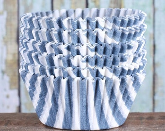 Slate Gray Striped Cupcake, Gray Striped Cupcake Wrappers, Striped Paper Cupcake Liners, Gray Wedding Cupcake Liners, Cupcake Cases (50)