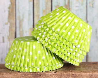 Lime Green Polka Dot Cupcake Liners, Lime Green Cupcake Liners, Christmas Cupcake Liners, Lime Cupcake Wrappers, Cupcake Cases, Baking Cups
