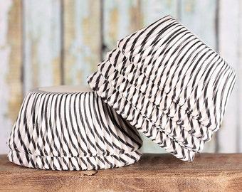 Black Stripe Cupcake Liners, Black Pinstripe Cupcake Liners, Black Cupcake Wrappers, Black Baking Cups, Halloween Cupcake Liners (50)