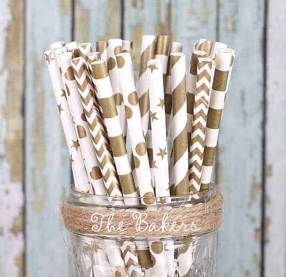 Gold Paper Straws, Gold Wedding Straws, Drinking Straws, Cake Pop Sticks, Party Straws, Cocktail Straws, Fancy Straws, Baby Shower (30 ct)
