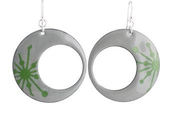 Green Starburst Eclipse Enamel Earrings