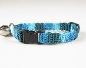 Cat Collar Crochet Turquoise Teal Ombre Breakaway Collar Kitty Kitten