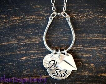 Soar Initial Charm Necklace, Personalized Graduation Jewelry, Paper Airplane Charm Necklace, Inspirational Jewelry