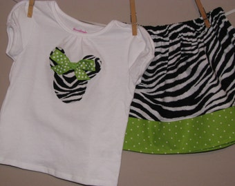 Disney Inspired Minnie Mouse Outfit - Baby Toddler Girls - Perfect for Disney Trips or Gift - Black, White Zebra and Lime Green Polka Dots