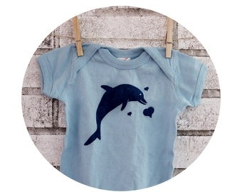 Baby Onepiece Printed With a Dolphin, Light Blue , Short Sleeved, Hand Printed, Screenprint Shirt, One Piece Snapsuit, Ocean, Baby boy