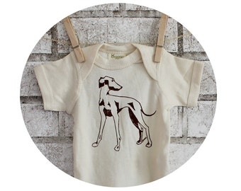 Italian Greyhound Baby Onepiece, Hand Printed With Brown Ink, Sort Sleeved Cotton Bodysuit, In Natural Ivory Cream, Family pet Dog