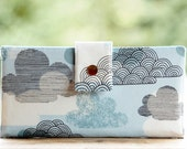 Clutch wallet handmade in a great organic cloud print