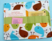 Tea Wallet Fat Birds in Turquoise Green Brown and Tangerine