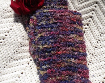 Hand Knitted Chenille Silk Scarf Blues Purples Rose Moss
