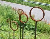 Ring Stake, garden stake, rustic wedding, path marker, garden, stake, pathway, rustic, driveway marker, Christmas, Christmas lights