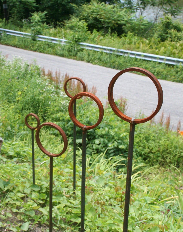 Ring Stake Garden Stake Rustic Wedding Path Marker Garden