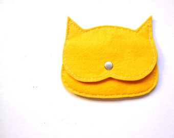 Yellow felt  Cat coin purse, mini pouch, made to order, vegan pouch