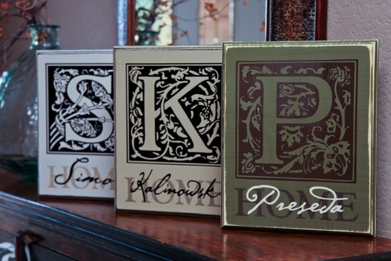 Custom Family INITIAL BLOCK 2x11x14 in -- Personalized with initial and name or date