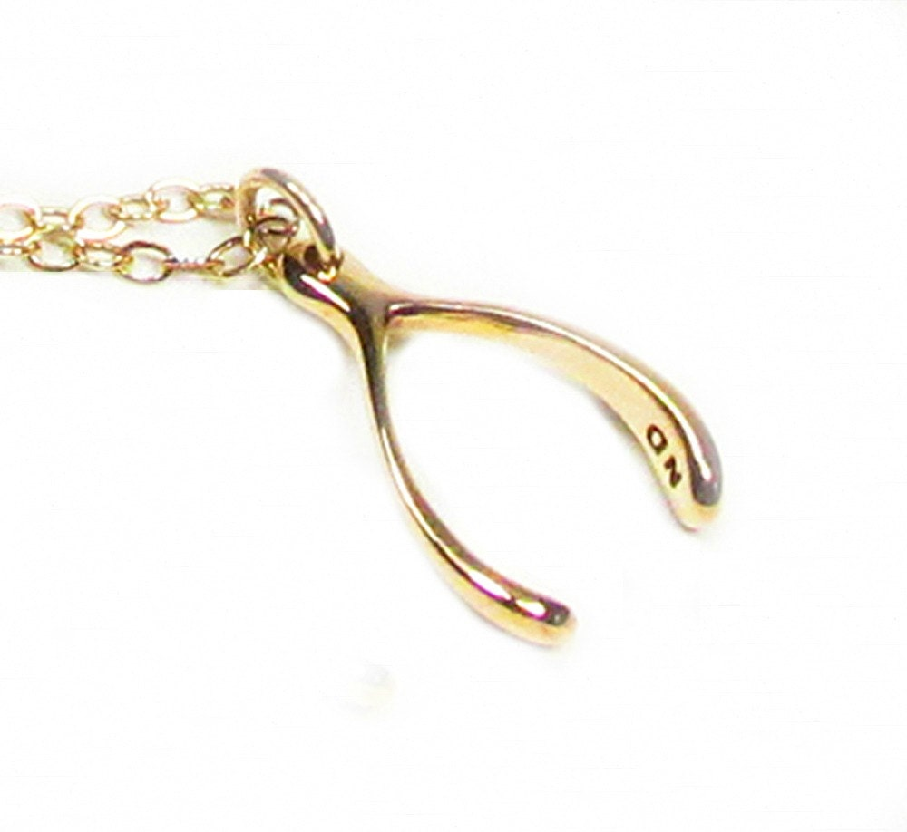 Gold Wishbone Necklace Gold Filled Necklace Bronze Wishbone