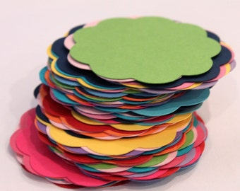 50 Colorful Scallops Gift Tag 2 inch READY TO SHIP Scrapbooking Journaling Spots Supply Thank you Card Stock Die Cuts Label Variety Multi