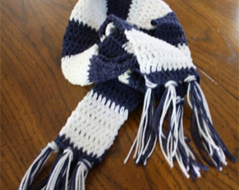 Navy and White Striped Scarf