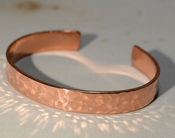 Hammered Copper Cuff Bracelet for Guys or Gals
