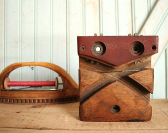 SALE TODAY Vintage Ribbon Loom Shuttle, Thread Spool & Block - Functional Rustic Wooden Tool of Industrial Era Home Decor