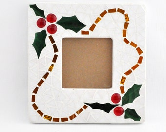 Mosaic Picture Frame - Christmas - Stained Glass - Holly Leaves -
