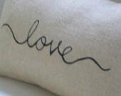 Burlap hessian love cursive handwriting lumbar pillow cushion cover