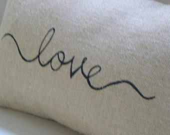 Burlap hessian love cursive handwriting lumbar pillow cushion cover