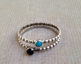Tiny Stack Rings || You pick your stone - sterling silver skinny silver stacking ring
