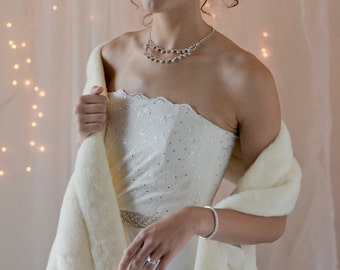Faux Fur Stole Shawl Wrap Winter Wedding formal event THREE grooved rows wide Available in ivory, black, white or cream