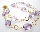 Pink Amethyst Necklace,Pink Necklace, Wire Wrapped Necklace, Stone, 14K Gold filled necklace, SKU 2925