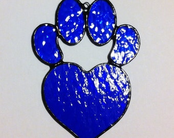 Heart Dog Paw Print Textured Blue Stained Glass Sun Catcher Great Gift for Dog Lovers!