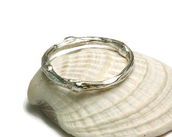 Twig Ring, Sterling Silver Rustic Jewelry, Woodland Wedding Band, Stacker Ring, custom size