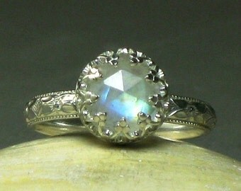 Sterling Silver Rainbow Moonstone Engagement Ring, Fancy Bezel Setting, Rose Cut Gemstone