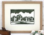 Hand Printed Fishermen's Huts, Southwold Linocut Print