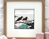 Hand Printed Two Oystercatchers Linocut Print