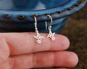 Tiny hummingbird charm earrings in sterling silver, hummingbird earrings, silver bird earrings, bird charm, tiny bird