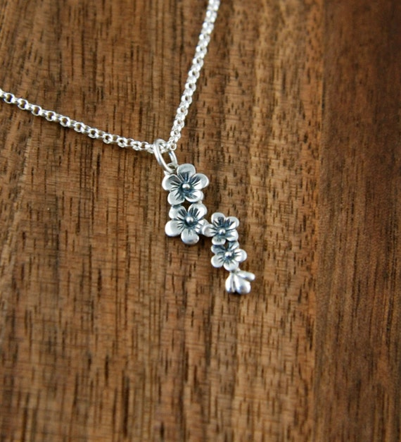 Cascading flower charm necklace in sterling silver, cherry blossom charm, botanical, silver flower necklace