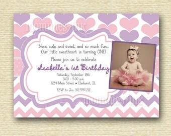 Pastel Purple and Pink Valentine Sweetheart Hearts Birthday Party Photo Invitation - PRINTABLE INVITATION DESIGN